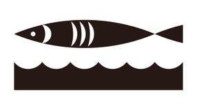 Ícone dos peixes e das ondas ilustração do vetor