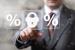 Ícone dos por cento da segurança do fechamento do botão do negócio Fotografia de Stock Royalty Free