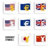 Ícone dos símbolos de moeda ajustado: dólar, euro, libra, yuan, iene Imagem de Stock