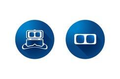 Ícone dos vidros da realidade virtual no fundo azul vetor do símbolo fotos de stock royalty free