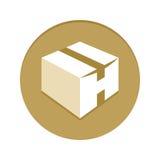 Ícone dourado da caixa Imagem de Stock Royalty Free