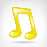 Ícone dourado da nota 3D da música isolado Imagens de Stock