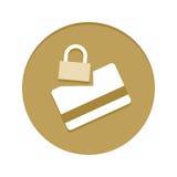 Ícone dourado da segurança do cartão de crédito Foto de Stock