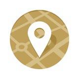 Ícone dourado do ponto do mapa Foto de Stock Royalty Free