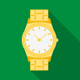 Ícone dourado do relógio no estilo liso isolado no fundo branco Ilustração do vetor do estoque do símbolo da joia e dos acessório Imagens de Stock Royalty Free
