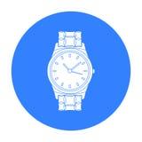 Ícone dourado do relógio no estilo preto isolado no fundo branco Ilustração do vetor do estoque do símbolo da joia e dos acessóri Foto de Stock Royalty Free