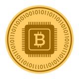 Ícone dourado do vetor da moeda do microprocessador símbolo liso amarelo da moeda do ouro isolado no branco Eps 10 Imagens de Stock Royalty Free
