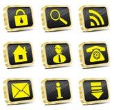 Ícone dourado do Web ajustado (versão do ouro) Ilustração Royalty Free