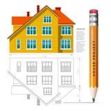 Ícone e desenho da casa com um lápis Foto de Stock Royalty Free