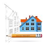 Ícone e desenho da casa com um lápis Foto de Stock
