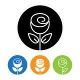 Ícone e logotipo bonitos da flor de Rosa no estilo linear na moda Fotos de Stock Royalty Free