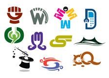 Ícone e molde de marcagem com ferro quente do logotipo Fotos de Stock