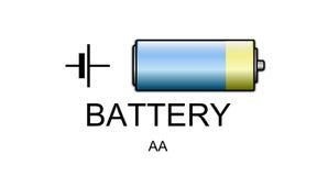Ícone e símbolo da bateria Imagem de Stock