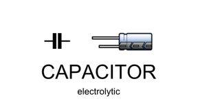 Ícone e símbolo do capacitor eletrolítico Imagem de Stock