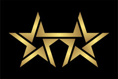 Ícone elegante e moderno abstrato do logotipo da estrela do ouro do gêmeo do estilo no preto, arquivo do eps 10 Imagens de Stock
