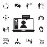 ícone em linha de uma comunicação Grupo universal dos ícones da conversação e da amizade para a Web e o móbil ilustração royalty free