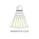 Ícone emplumado badminton da peteca Isolado Molde criativo do logotipo para o clube do badminton Ilustração linear do vetor Imagens de Stock Royalty Free