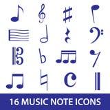 Ícone eps10 ajustado da nota da música Imagens de Stock