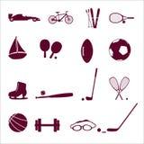 Ícone eps10 ajustado do equipamento de esporte Imagens de Stock