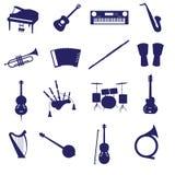 Ícone eps10 ajustado dos instrumentos musicais Fotografia de Stock