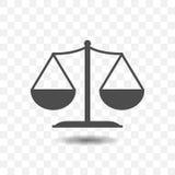 Ícone esboçado do equilíbrio da escala no fundo transparente projeto de conceito de justiça Foto de Stock Royalty Free