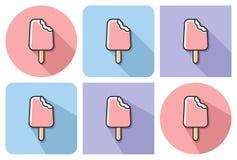 Ícone esboçado do gelado mordido ilustração stock
