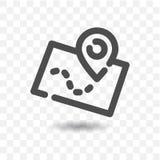 Ícone esboçado do mapa com o ponteiro do pino do mapa Foto de Stock
