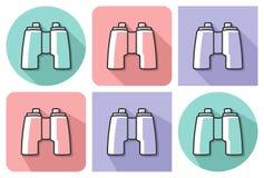 Ícone esboçado dos binóculos ilustração royalty free