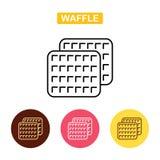 Ícone esboçado waffle do alimento Foto de Stock Royalty Free
