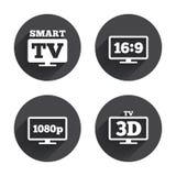 Ícone esperto do modo da tevê símbolo da televisão 3D Fotos de Stock