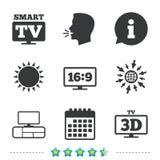 Ícone esperto do modo da tevê símbolo da televisão 3D Fotos de Stock Royalty Free