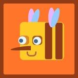 Ícone estilizado dos desenhos animados da abelha Foto de Stock Royalty Free