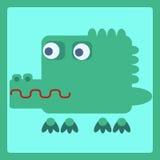 Ícone estilizado dos desenhos animados do crocodilo Fotografia de Stock Royalty Free