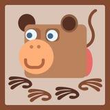 Ícone estilizado dos desenhos animados do macaco Imagens de Stock