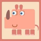 Ícone estilizado dos desenhos animados do rinoceronte Fotos de Stock