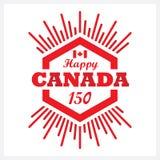 Ícone feliz do emblema de Canadá 150 do hexágono vermelho com raio de sol Fotos de Stock Royalty Free