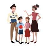 ícone feliz dos desenhos animados da família Imagens de Stock Royalty Free
