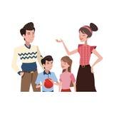 ícone feliz dos desenhos animados da família Fotos de Stock