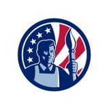 Ícone fino americano da bandeira dos EUA do artista Imagens de Stock Royalty Free