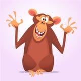 Ícone fresco do caráter do macaco dos desenhos animados Ilustração do vetor imagem de stock royalty free