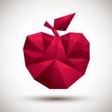 Ícone geométrico da maçã vermelha feito no estilo 3d moderno ilustração royalty free