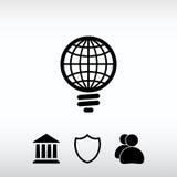 Ícone GLOBAL da ampola, ilustração do vetor Estilo liso do projeto Imagem de Stock Royalty Free