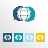 Ícone global do bate-papo com fundo limpo Foto de Stock Royalty Free