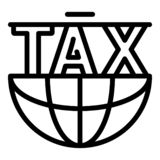 Ícone global do formulário de imposto, estilo do esboço ilustração royalty free