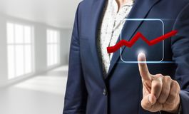 Ícone gráfico virtual tocante da mão do homem de negócios Foto de Stock Royalty Free