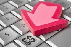 Ícone grande do disconto 50% da venda em um teclado Compras Fotos de Stock