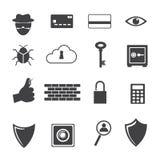 Ícone grande dos dados, ícones do criminoso de computador ajustados Fotografia de Stock Royalty Free