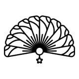 Ícone handheld tradicional do fã, estilo do esboço ilustração stock