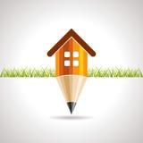 Ícone Home com lápis Imagens de Stock