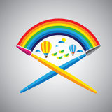 Ícone ideal do vetor da escova de pintura no formato liso do projeto com chuva Foto de Stock